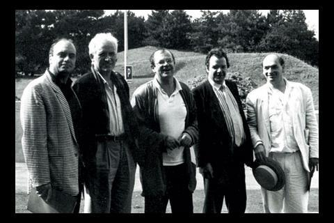 Exalted company: Alsop (second from right) in France, 1988, with (l-r) Massimiliano Fuksas, Otto Steidle, Jean Nouvelle and Francois Genvre, mayor of Herouville St Claire